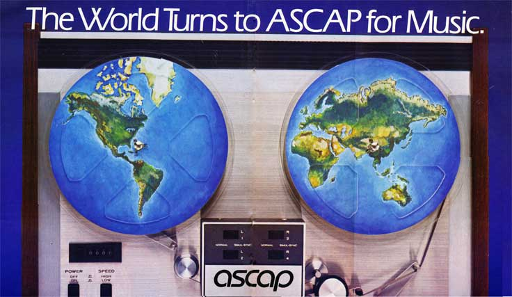 1982 ASCAP ad using the Teac A3340 as art in Phantom Productions' vintage reel to reel tape recording collection