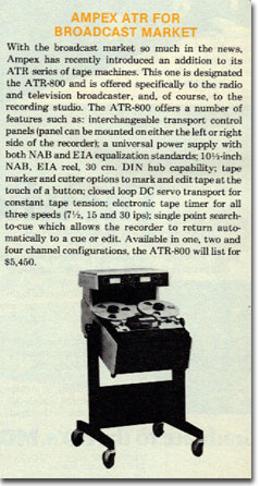 picture of information on Ampex ATR800