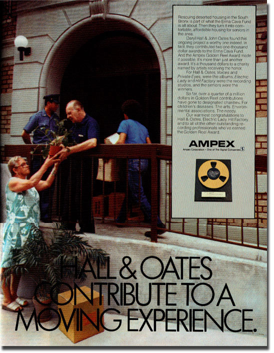 picture of Ampex tape ad featuring Hall & Oats