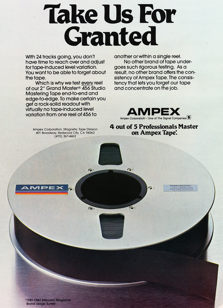 1982 ad for Ampex reel to reel recording tape in Phantom Productions' vintage recording collection