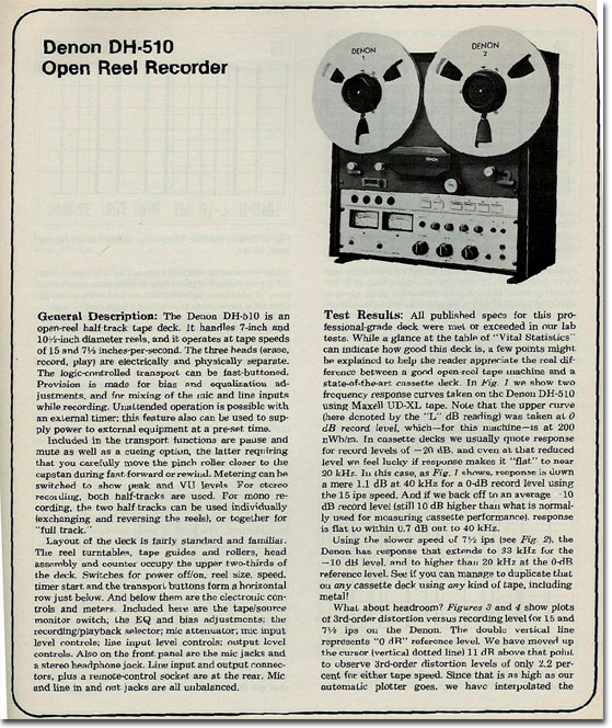 picture of Denon reel tape recorder tape recorder page