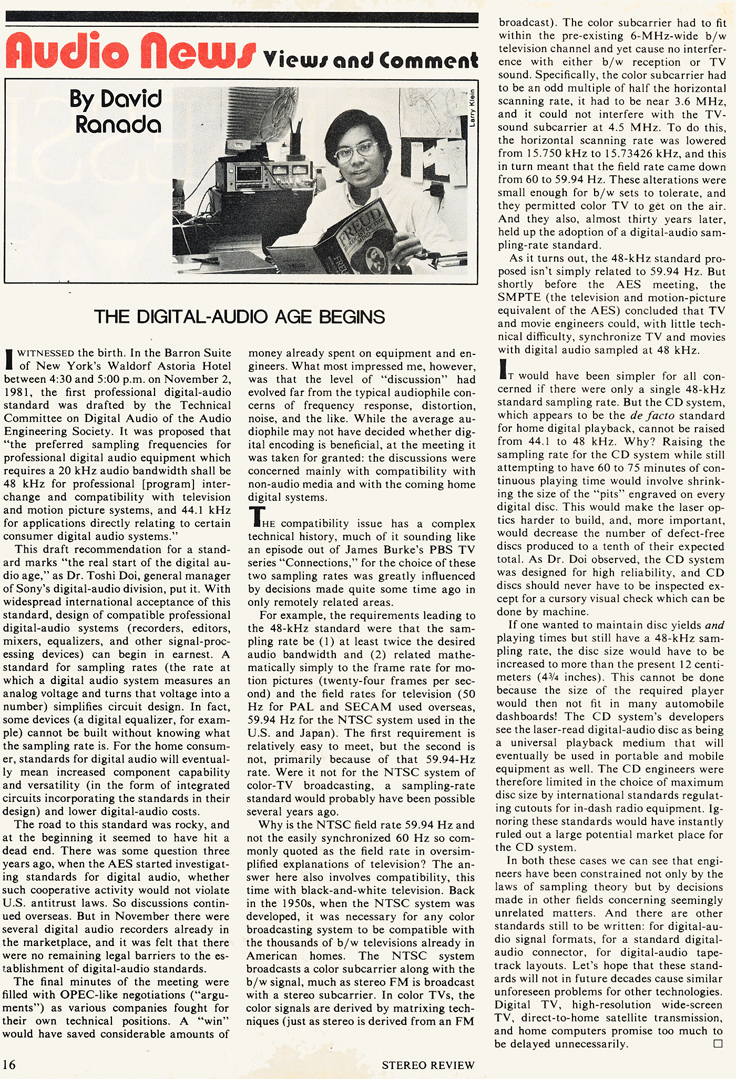 1982 commentary on the dwn of digital recording