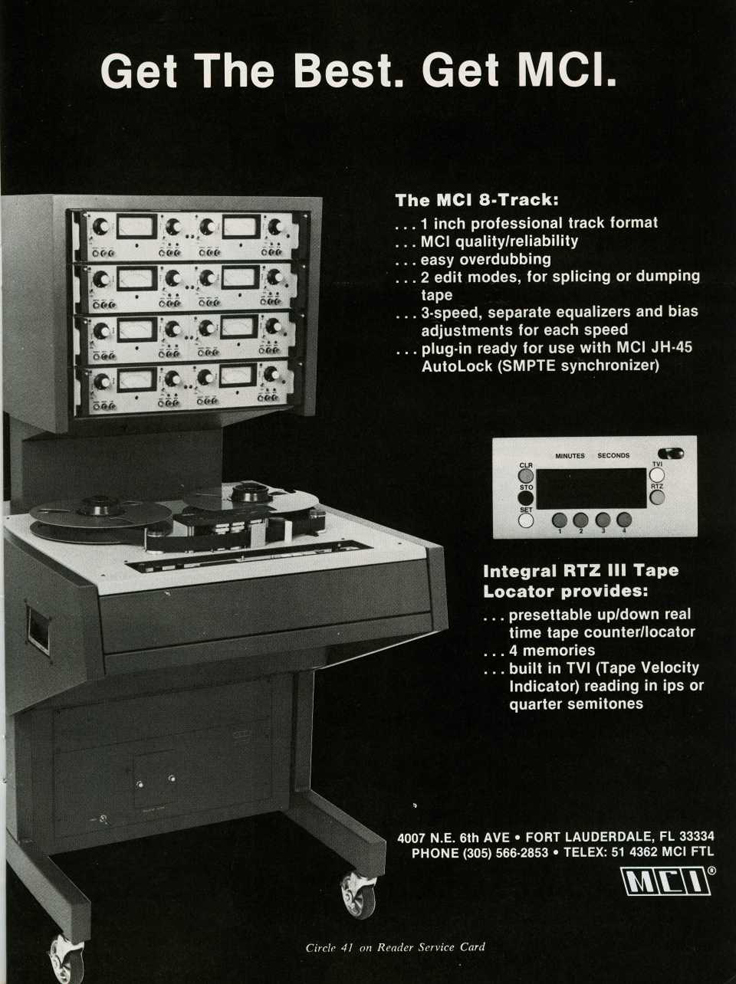 1982 ad for MCI professional reel to reel tape recorders in Phantom productions' vintage recording collection