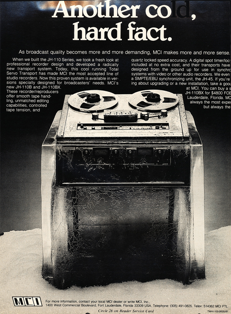 1982 ad for MCI JH 110 professional reel to reel tape recorders in Phantom productions' vintage recording collection