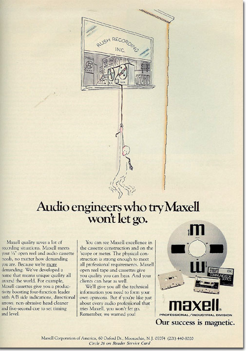 picture of 1982 Maxell Recording tape ad