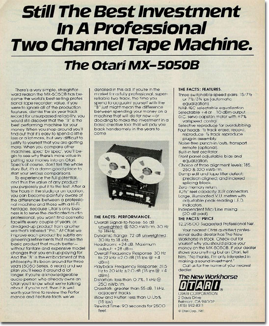 picture of Otari reel tape recorder ad from 1982