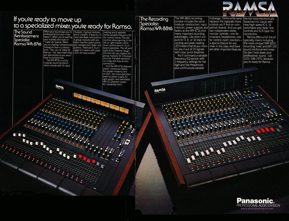 1982 ad for the Panasonic Ramsa mixers in Phantom Productions' vintage recording collection