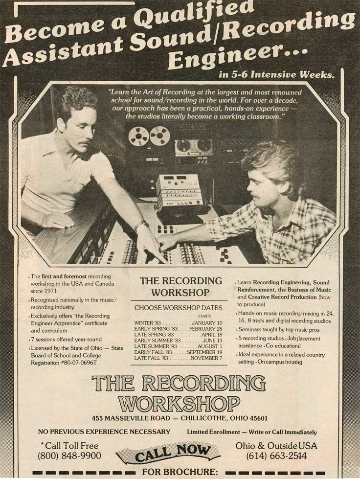 1982 The Recording Workshop ad in Phantom Productions' vintage recording collection