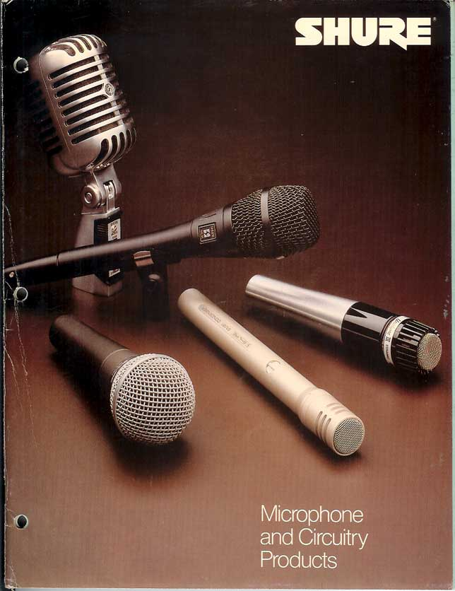 1982 Shure microphone catalog in Phantom Productions' vintage recording collection