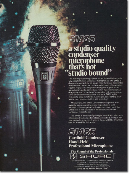 picture of 1982 Shure SM85 microphone ad