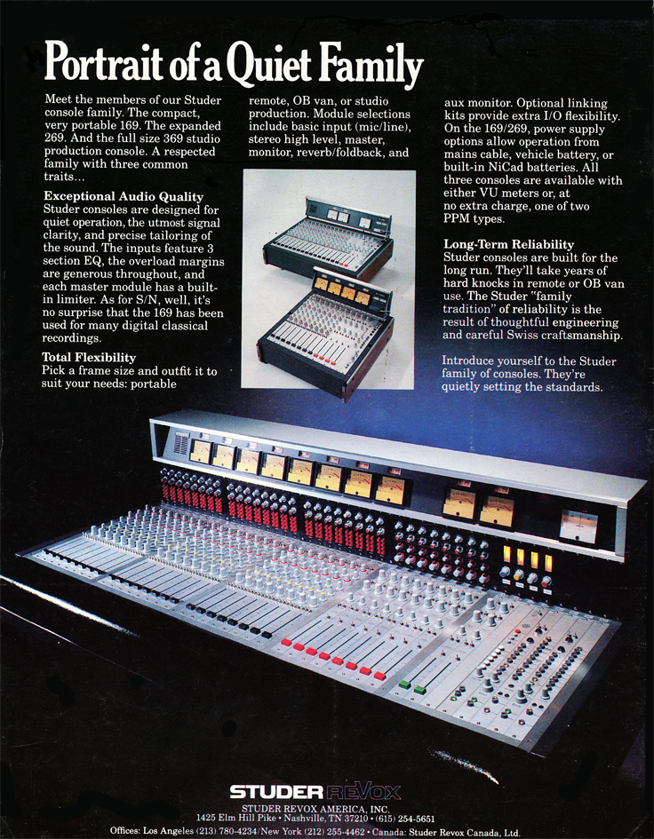 1982 ad for the Studer mixing consoles in Phantom Productions' vintage recording collection