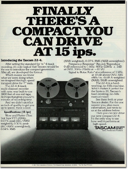 picture of 1982 Tascam reel tape recorder ad