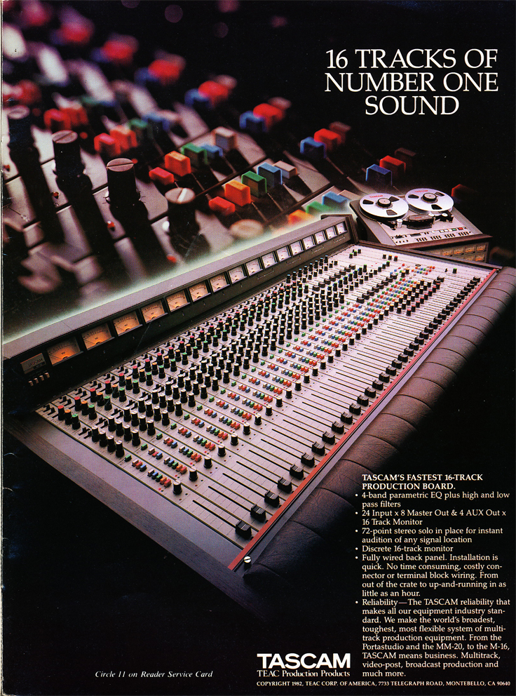 1982 ad for the Tascam M-16, 16 track professional reel to reel tape recorder in Phantom Productions' vintage recording collection