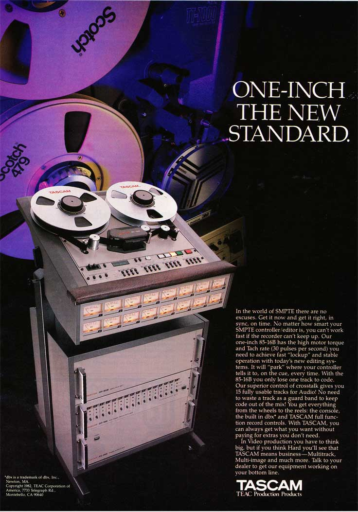 1982 Tascam ad for the 85-16B 16 track reel tape recorder in Phantom Productions' vintage recording collection