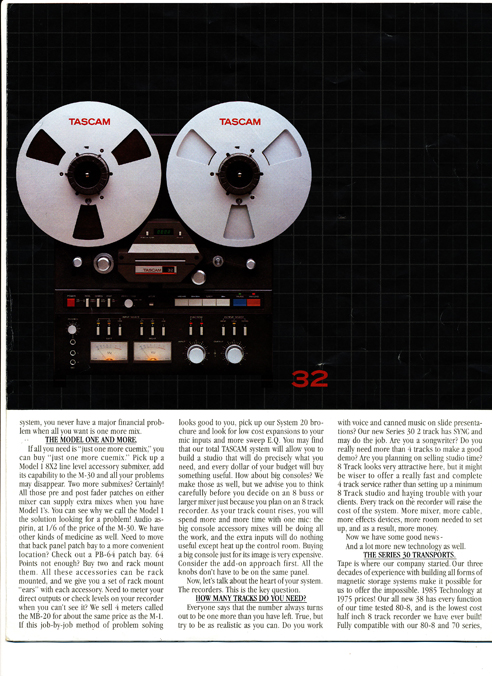 Tascam Series 30 brochure in Phantom Productions' vintage reel to reel tape recorder collection