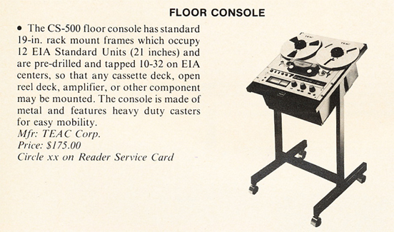 1982 brief summary of the Teac floor console in Phantom Productions' vintage recording collection