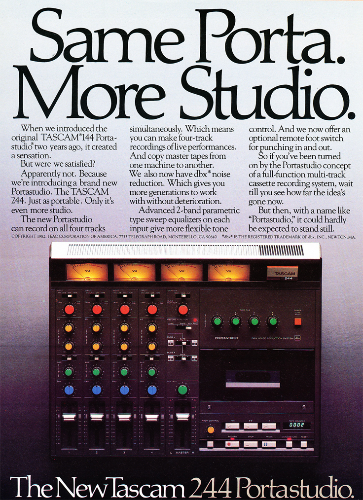 1982 ad for the Teac Porta Studio 144 in Phantom Productions' vintage recording collection