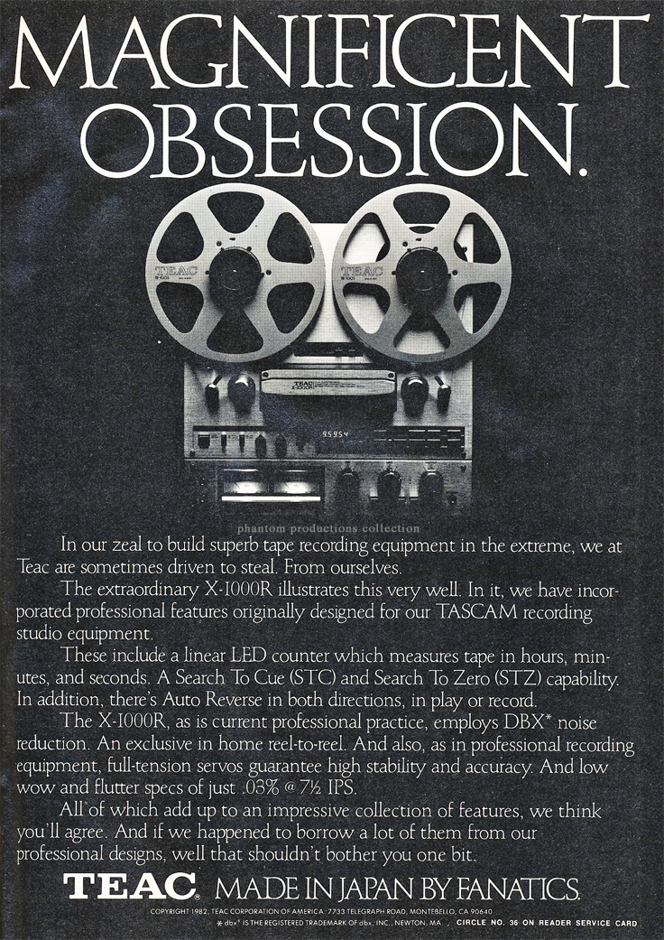1982 ad for the Teac X-1000R reel to reel tape recorder in Phantom Productions' vintage recording collection