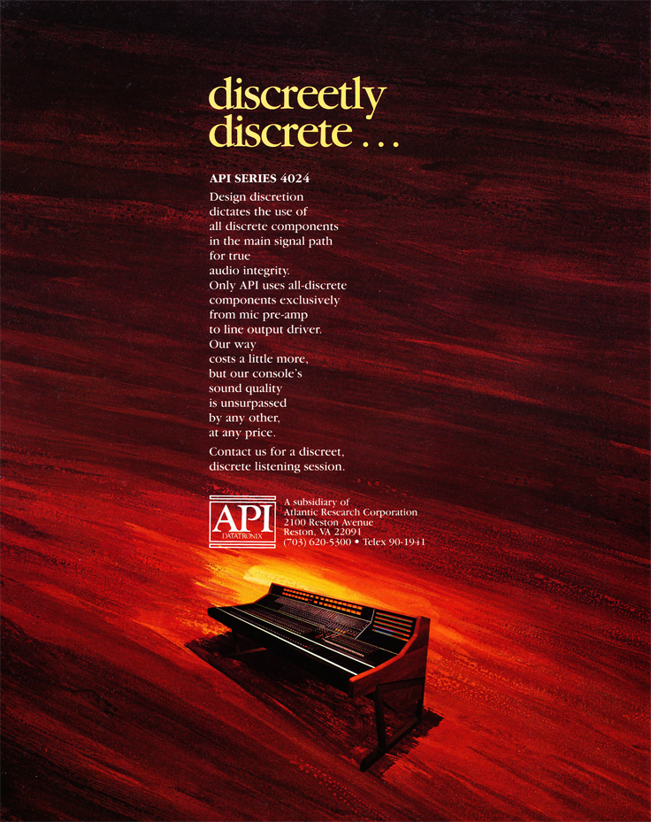 1983 ad for the API mixing console in Reel2ReelTexas.com's vintage recording collection