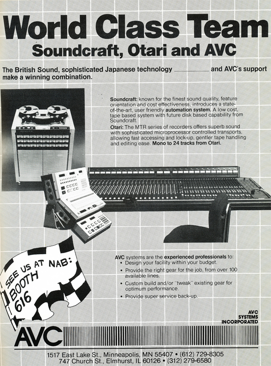1983 ad for AVC Systems featuring Otari professional reel to reel tape recorders and Soundcraft mixing console in Reel2ReelTexas.com's vintage recording collection