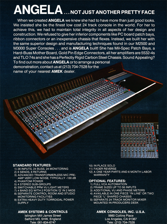 1983 ad for the Amek mixing console in Reel2ReelTexas.com's vintage recording collection