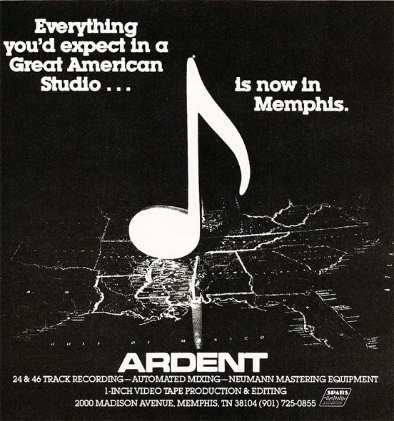 1983 ad for Memphis' Addent recording studio  in Reel2ReelTexas.com's vintage recording collection