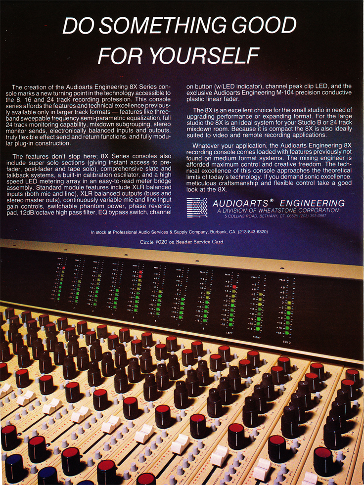 1983 ad for the Audio Arts mixing console in Reel2ReelTexas.com's vintage recording collection