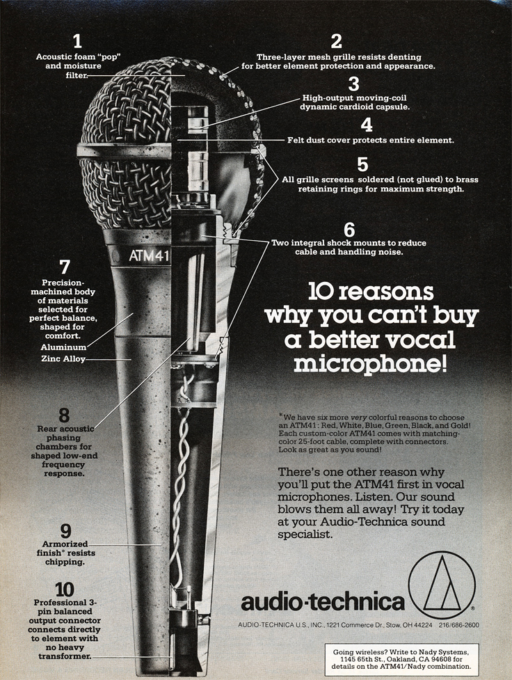 1983 ad for the Audio Technica ATM-41 microphone in Reel2ReelTexas.com's vintage recording collection