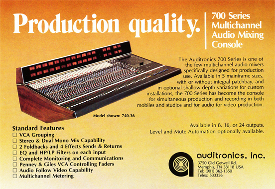 1983 ad for Audiotronics mixing console in Reel2ReelTexas.com's vintage recording collection