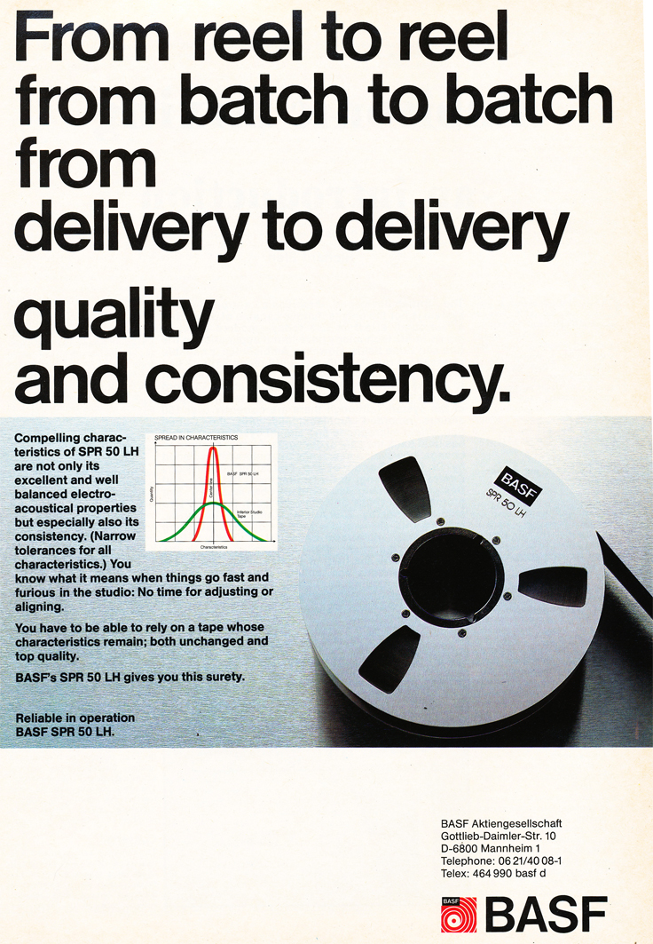 1983 ad for the BASF recording tape in Reel2ReelTexas.com's vintage recording collection