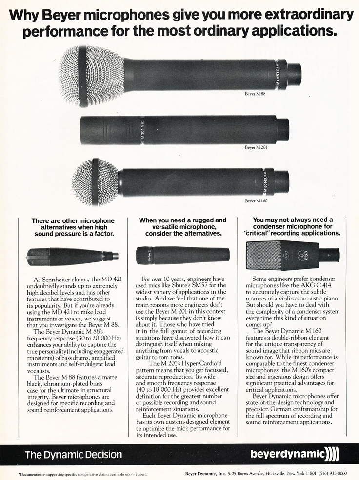 1983 ad for the Beyer dynamic microphones in Reel2ReelTexas.com's vintage recording collection