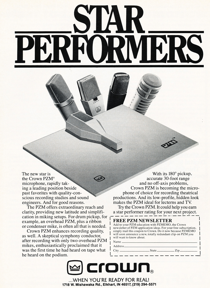 1983 ad for the Crown PZM microphone in Reel2ReelTexas.com's vintage recording collection