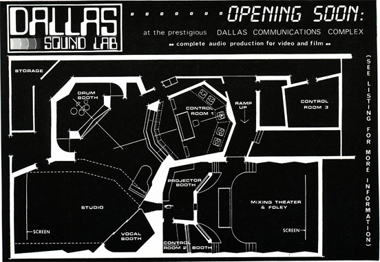 1083 ad for the new Dallas Sound Lab owned by Russel Whitikaer who previously owned Austin's Rough Cedar studio