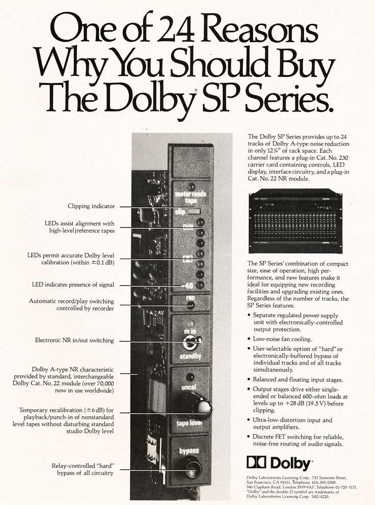 1983 ad for Dolby in Reel2ReelTexas.com's vintage recording collection