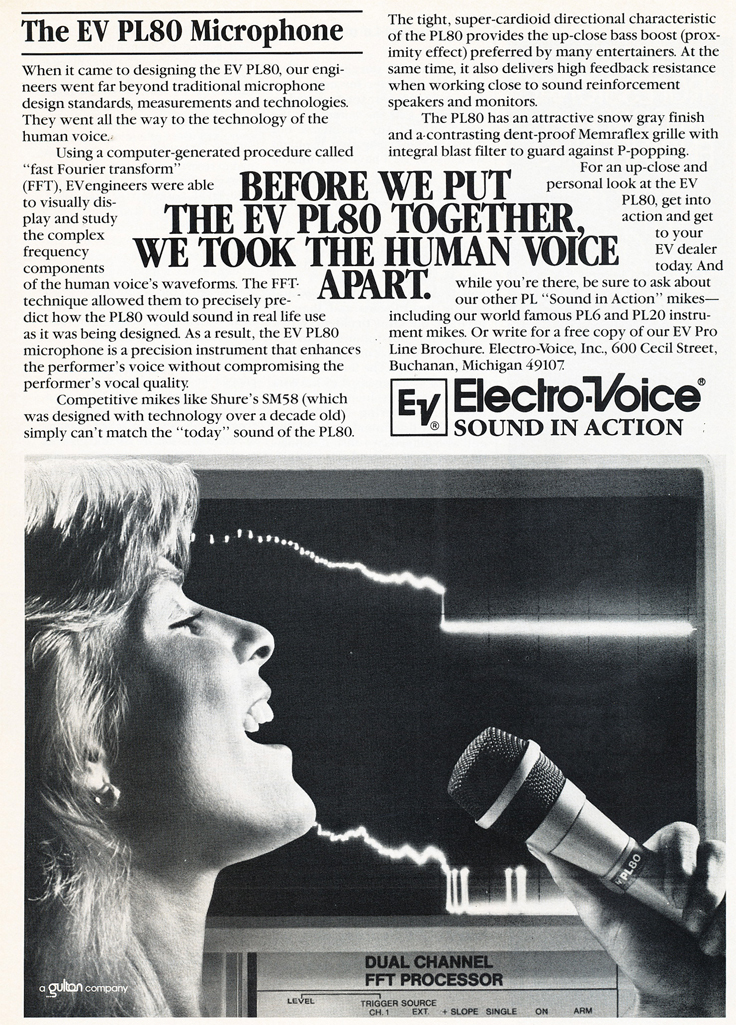 1983 ad for the Electro Voice PL80  microphone in Reel2ReelTexas.com's vintage recording collection