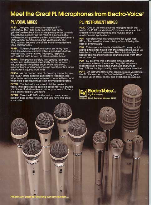 1983 Electro Voive microphone ad in Phanrom Productions vintage recording collection