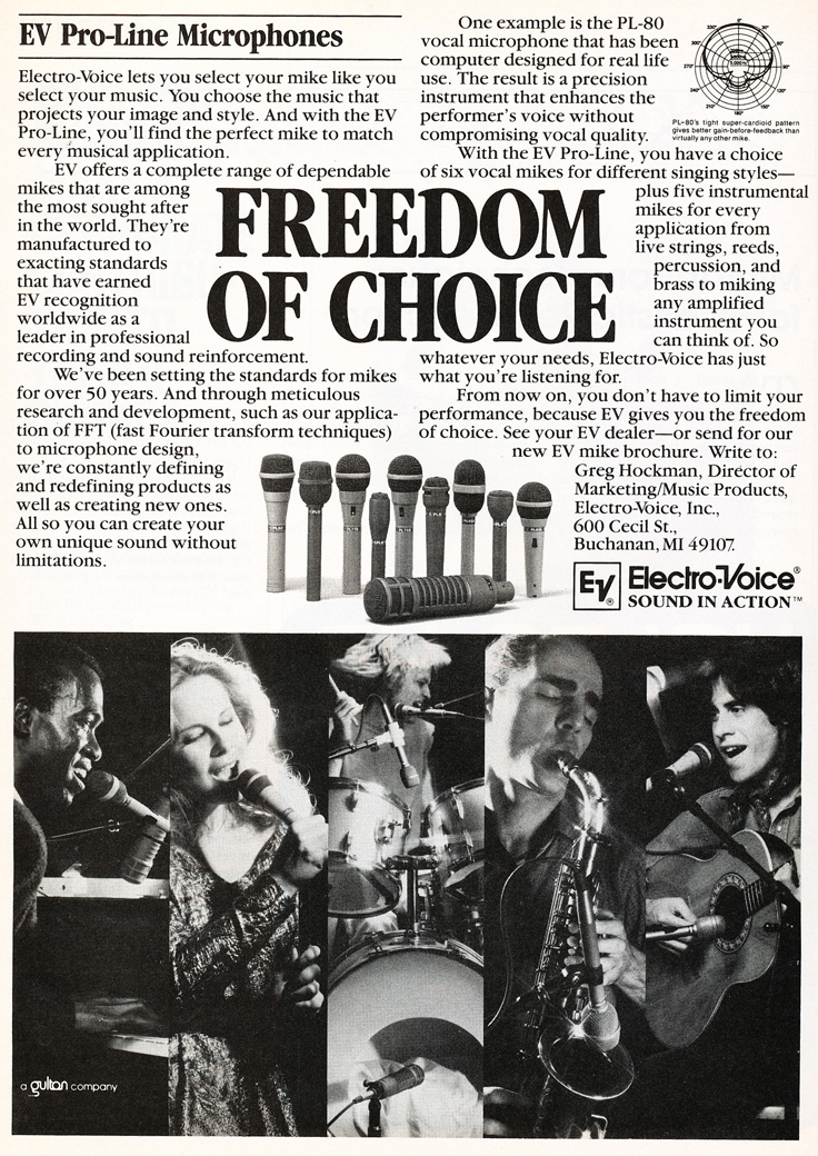 1983 ad for Electro Voice microphones in Reel2ReelTexas.com's vintage recording collection
