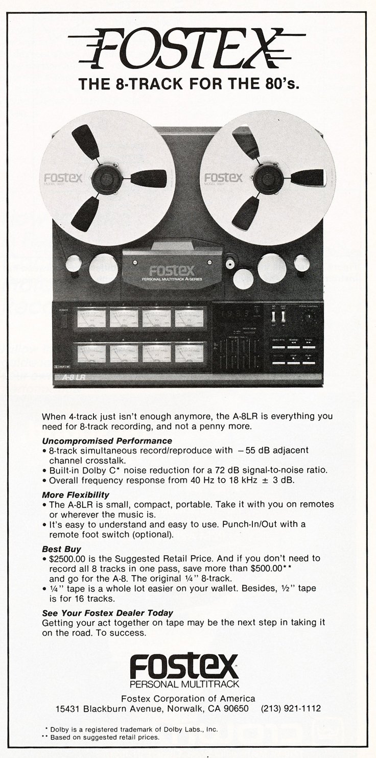 "1983 ad for the Fostex A8 8 track 1/4"" reel to reel tape recorder in Reel2ReelTexas.com's vintage recording collection"