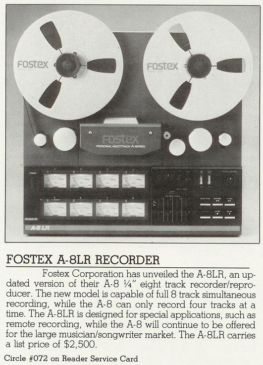 Fostex A-8LR summary in 1983 ad in Phantom Productions, Inc.'s vintage reel to reel tape recorder collection