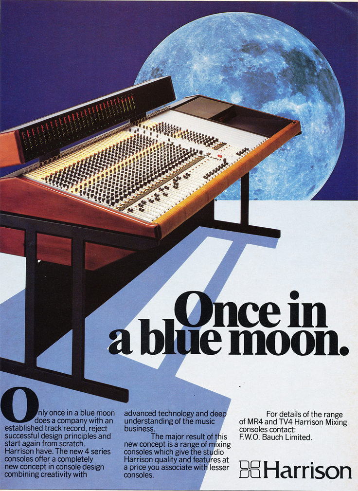 1983 ad for the Harrison mixing console in Reel2ReelTexas.com's vintage recording collection
