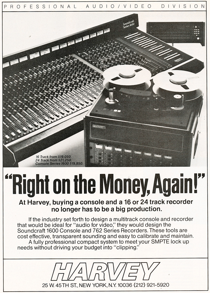 1983 ad for  Harvey featuring the Soundcraft mixing console in Reel2ReelTexas.com's vintage recording collection