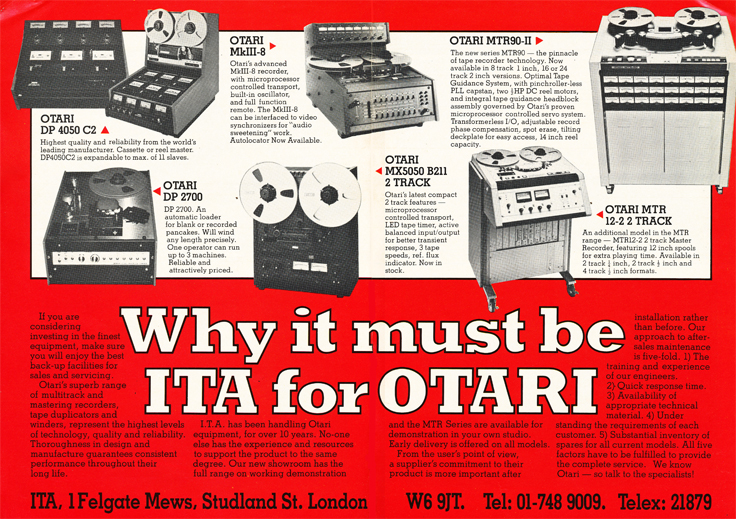 1983 ad for ITA electronic sales profiling Otari reel tape recorders in the Phantom Production' vintage recording collection