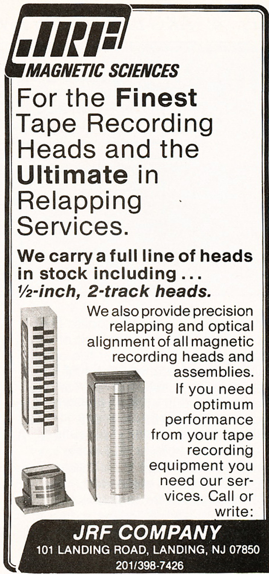 1983 ad for the JRF recording head services in Reel2ReelTexas.com's vintage recording collection