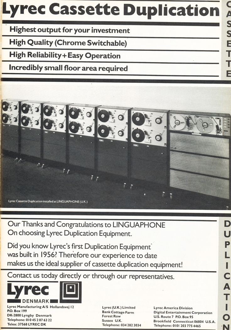 1983 ad for Lyrec high speed cassette duplication tape recorders in the Phantom Production' vintage recording collection