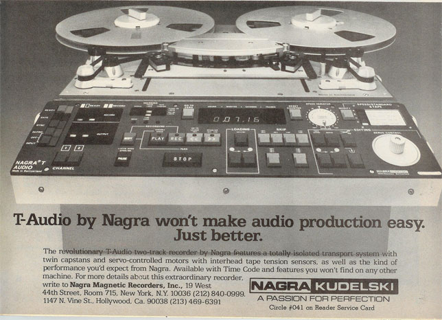 Nagra T-Audio 2 track recorder in 1983 ad in Phantom Productions, Inc.'s vintage reel to reel tape recorder collection