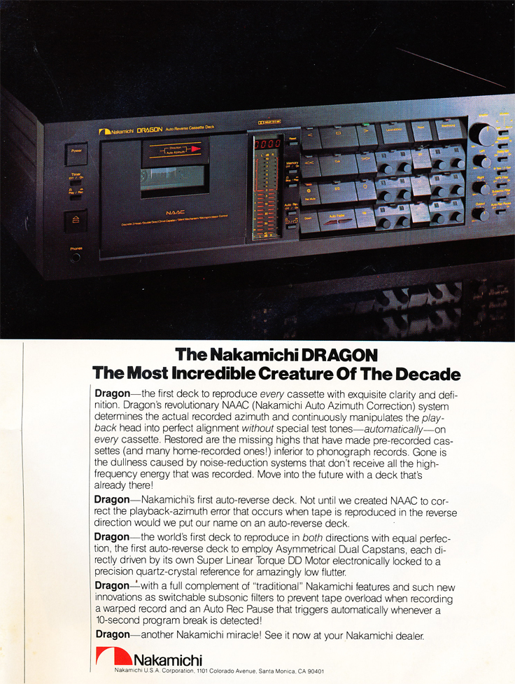 March 1982 review of the Nakamichi Dragon cassette recorder in the Stereo Review Tape Issue in the Reel2ReelTexas.com's vintage recording collection