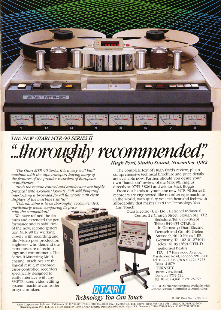 1983 ad for both the Otari MTR-90 professional reel to reel tape recorder in Reel2ReelTexas.com's vintage recording collection.