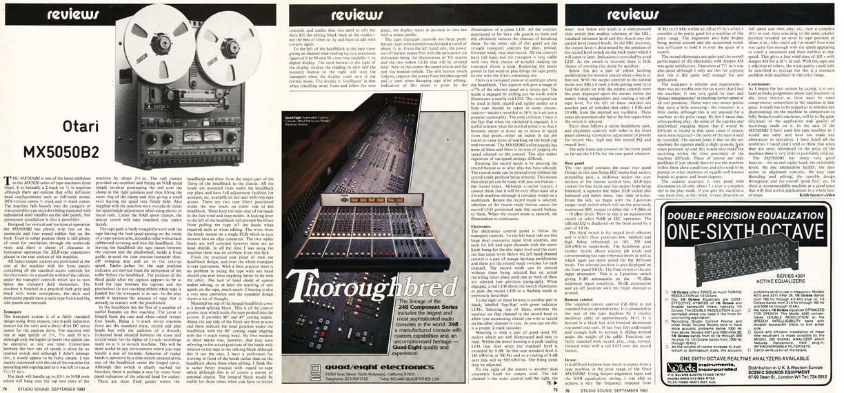 1983 review of the  Otari MX5050 BQ II reel tape recorder in Phantom Productions' vintage tape recording collection