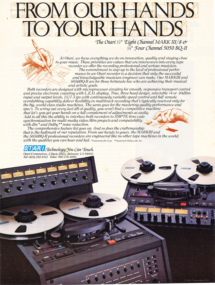 1983 ad for both the Otari 8 track Mark III/8 and the 4 channel Otari MX-5050BQII in Reel2ReelTexas.com's vintage recording collection.