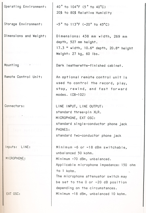 1983 manual page from Otari MX5050 BQ II reel tape recorder in Phantom Productions' vintage tape recording collection